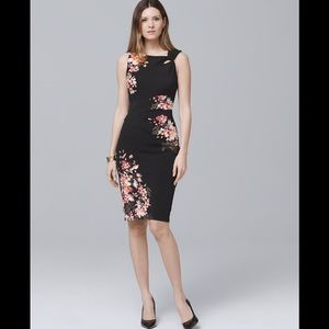 White House Black Market Floral Knit Sheath Dress
